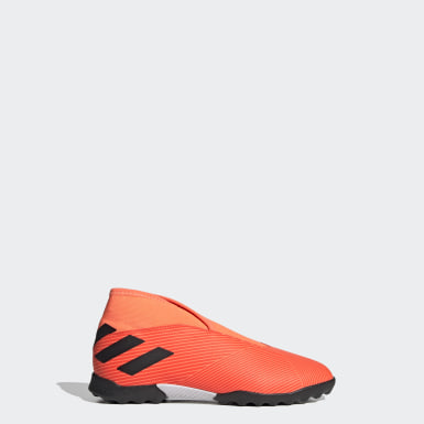 Kids Football Orange Nemeziz 19.3 Laceless Turf Boots