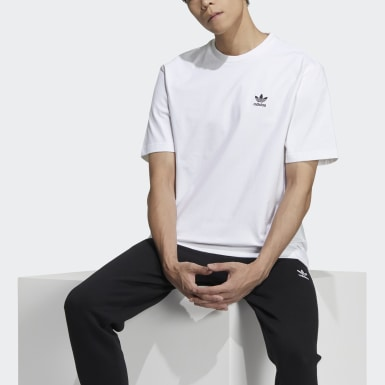 Men Originals White Trefoil Boxy Tee with Front and Back Print