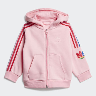 Meisjes Originals Roze Adicolor 3D Trefoil Hoodie Set
