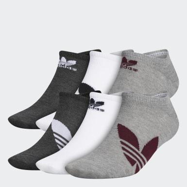 Men Originals Grey Trefoil Superlite No-Show Socks 6 Pairs