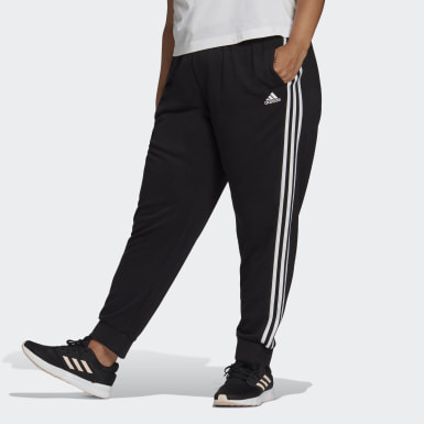 Women's Essentials Black adidas Essentials French Terry 3-Stripes Pants (Plus Size)