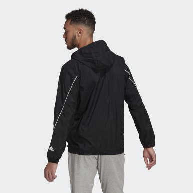 Men Sport Inspired Black Essentials Giant Logo Windbreaker