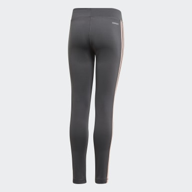 Girls Training Grey Equip 3-Stripes Tights