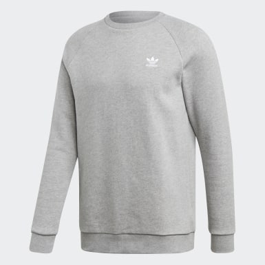 Men's Originals Grey LOUNGEWEAR Trefoil Essentials Crewneck Sweatshirt