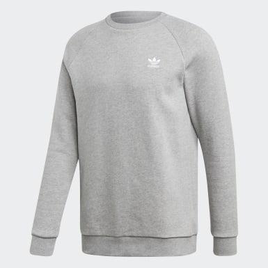 Men Originals Grey Trefoil Essentials Crewneck Sweatshirt