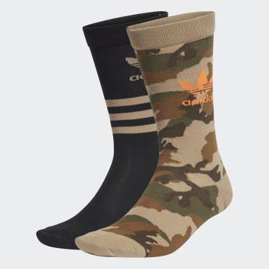 Originals zelená Ponožky Camo Crew – 2 páry
