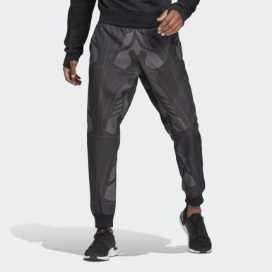 Men Athletics Black Jacquard Footwear Pants