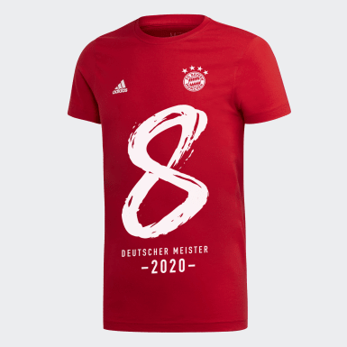 Boys Football Red FCB Winner Tee German Champion 2020