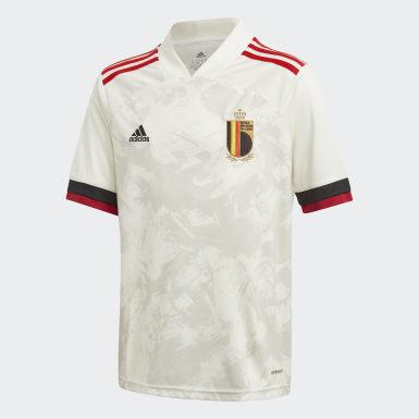 Børn Fodbold Hvid Belgium udebanetrøje