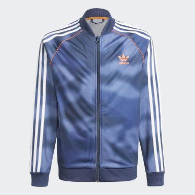 Kluci Originals modrá Sportovní bunda Allover Print Camo SST