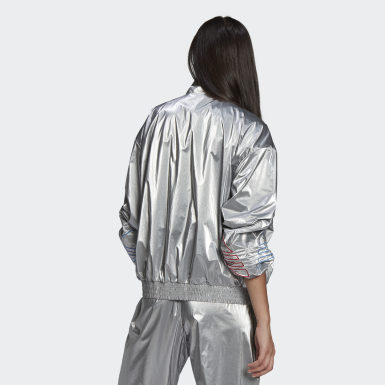 Women Originals Silver Adicolor Tricolor Metallic Japona Track Jacket