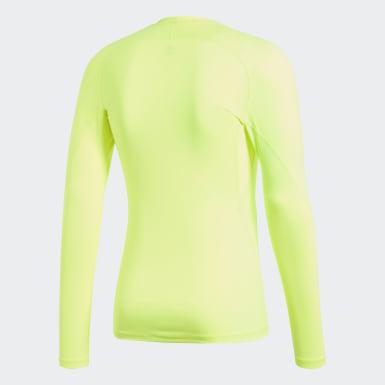 Mænd Fodbold Gul Alphaskin Sport T-shirt