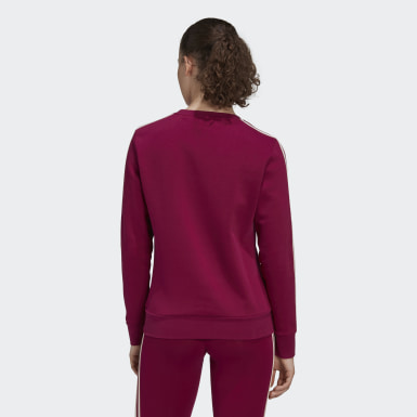 Sweat-shirt Essentials 3-Stripes Burgundy Femmes Entraînement