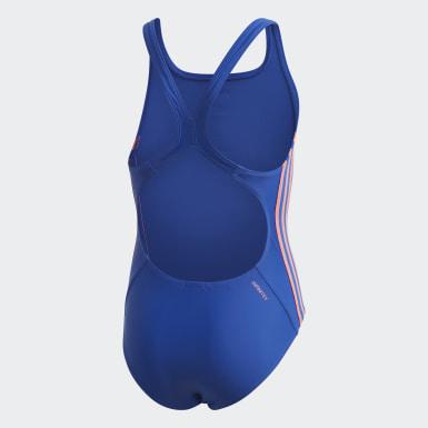 Fato de Banho Athly V 3-Stripes Azul Raparigas Natação
