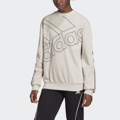 Women Sport Inspired Beige adidas Giant Logo Sweatshirt (Gender Neutral)