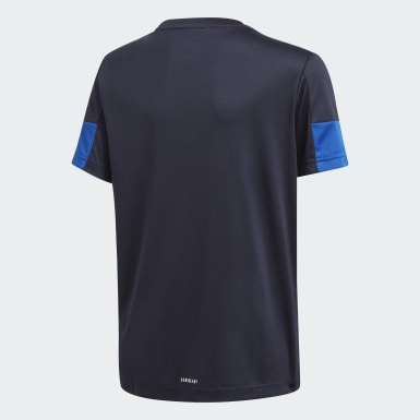 Jungen Training Must Haves AEROREADY 3-Streifen T-Shirt Blau