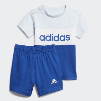 Conjunto camiseta y pantalón corto Colorblock Azul Niño Athletics