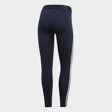 ผู้หญิง เทรนนิง สีน้ำเงิน กางเกงรัดรูป Essentials 3 Stripes