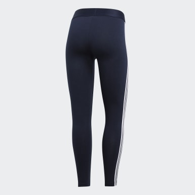 Calzas Essentials 3 Tiras - Tiro Bajo Azul Mujer Training