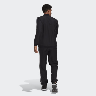 Men Athletics Black AEROREADY Essentials Regular-Fit 3-Stripes Track Suit