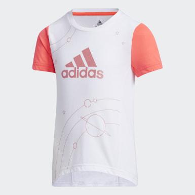 Mädchen Training Large Polyester T-Shirt Weiß