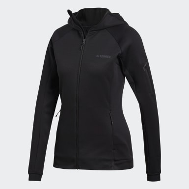 Women's Hiking Black Terrex Stockhorn Hooded Fleece Jacket