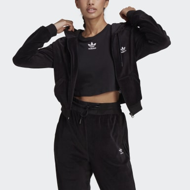 Women's Originals Black LOUNGEWEAR Cropped Full Zip Hoodie