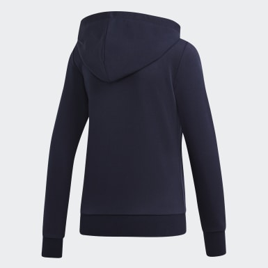 Women Athletics Blue Essentials Linear Hoodie