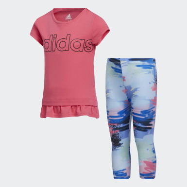 Children Training Pink Power Capri Tights and Tee Set