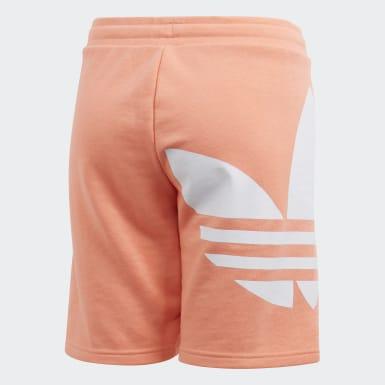 Kids Originals Orange Big Trefoil Shorts