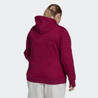 Women Athletics Burgundy AEROREADY Jacquard Full-Zip Logo Hoodie (Plus Size)