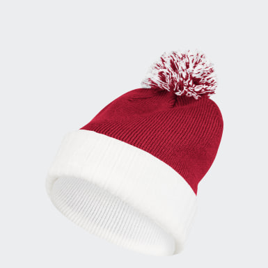 Men's Training Red Cuffed Knit Pom Beanie