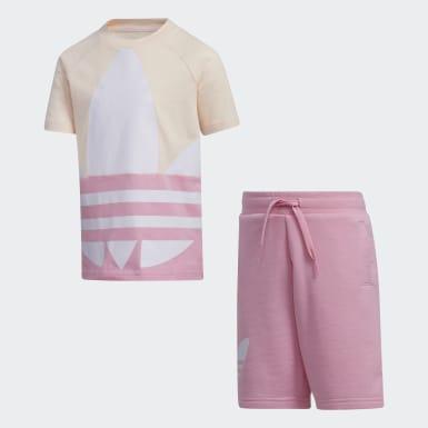 เด็ก Originals สีชมพู ชุดเสื้อยืดและกางเกงโลโก้ Trefoil ขนาดใหญ่