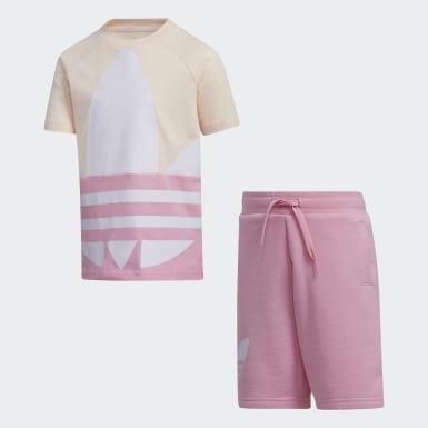 Kids Originals Pink Large Trefoil Tee Set