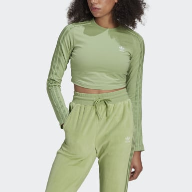 Felpa LOUNGEWEAR adidas Cropped Long Sleeve Verde Donna Originals
