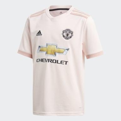 Jersey de Visitante Manchester United Replica Rosa Niño Fútbol