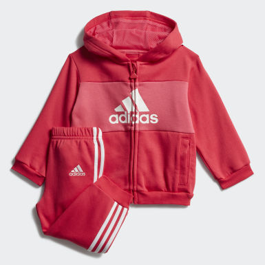 Kids Training Pink Logo Hooded Jogger Set