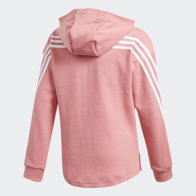 Girls Träning Rosa 3-Stripes Full-Zip Hoodie