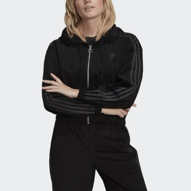 Women Originals Black Hooded Track Top