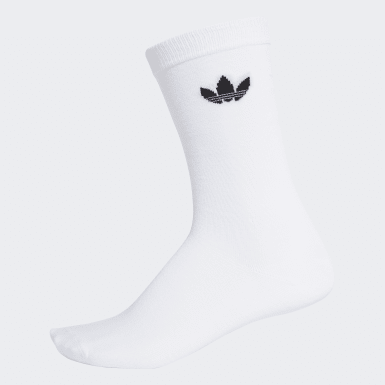 Originals White Thin Trefoil Crew Socks 2 Pairs
