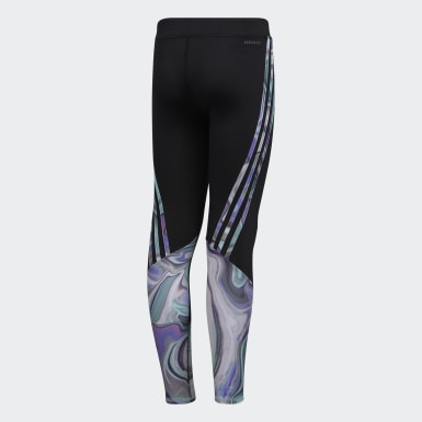 Youth Training Black Designed 2 Move Placed Print Tights