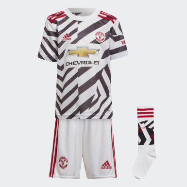Kids 4-8 Years Football White Manchester United 20/21 Third Mini Kit