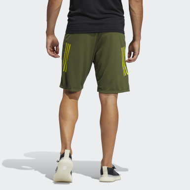 Men Training Green 3-Stripes 9-Inch Shorts