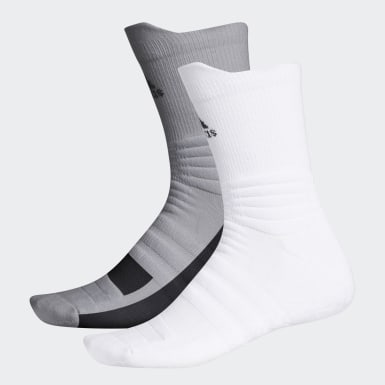 Men Golf White Grip Crew Socks 2 Pairs
