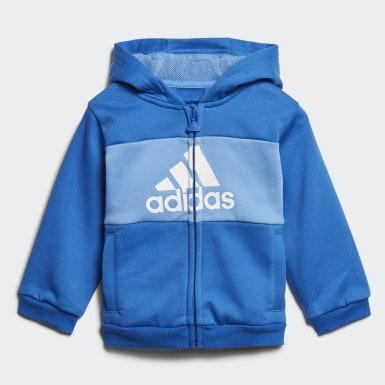 Børn Træning Blå Logo Hooded joggingsæt