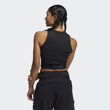 Dames Crosstraining Zwart Techfit Crop Tanktop
