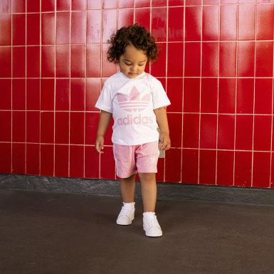 เด็กผู้หญิง Originals สีขาว ชุดเสื้อและกางเกง Trefoil
