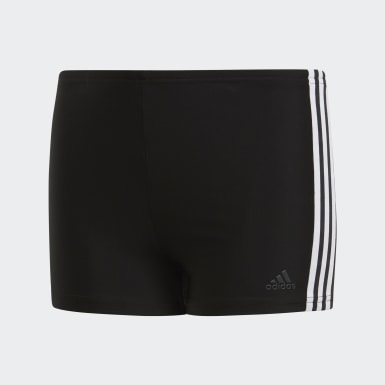 Boys Swimming Black 3-Stripes Swim Boxers