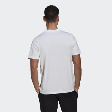 Men Sport Inspired White Embroidered Lit Logo Graphic Tee