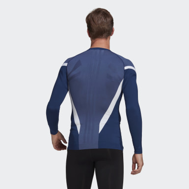 Men Training Blue Primeknit Fine Long-Sleeve Top